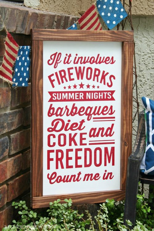 Love this 4th of July sign. Made with cricut, too!