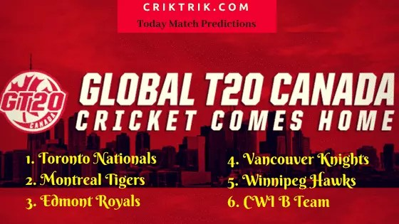 Global T20 Canada - Today Match Prediction