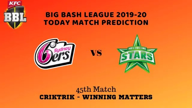 sys vs mls prediction match45 BBL 2019 20 - SYS vs MLS Today Match Prediction - 45th T20, Big Bash League 2019-20