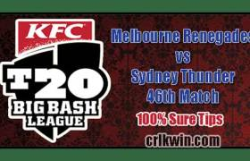 MLR vs SYT Match Reports BBL T20 46th 100% Sure Match Prediction