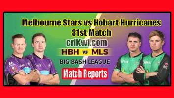 Who Win Today BBL 31th Match Melbourne Stars vs Hobart Huricanes