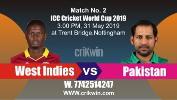 World Cup 2019 Match No. 2 WI vs PAK Win Prediction Tips