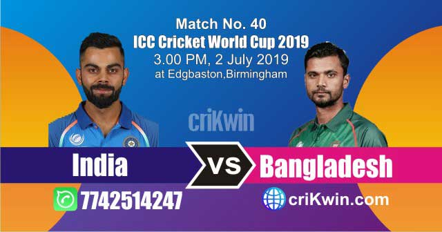 BAN vs IND 40th Match World Cup 2019 Winner Astrology Predict