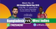 WI vs Ban 23rd Match World Cup 2019 Winner Astrology Predict
