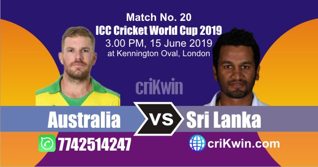 World Cup 2019 Australia vs Sri Lanka 20th Match Win Prediction