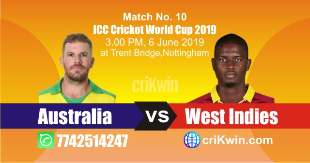 World Cup 2019 Australia vs Windies 10th Match Win Prediction
