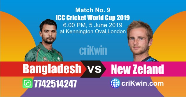 World Cup 2019 Bangladesh vs Newzeland 9th Match Win Prediction