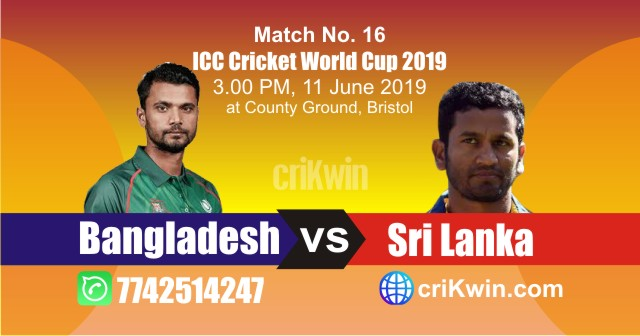 World Cup 2019 Bangladesh vs Sri Lanka 16th Match Win Prediction