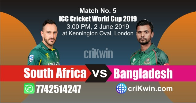 World Cup 2019 South Africa vs Bangladesh 5th Match Win Prediction
