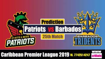 CPL 2019 Today Match Prediction Raja Babu Nevis Patriots vs Barbados 25th Match today cricket match pridiction SNP vs BT