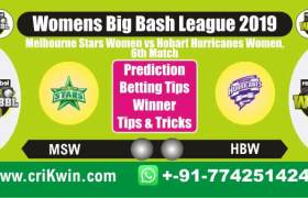 WBBL 2019 100% Sure Today Match Prediction MLSW vs HOBW 6th Match Cricket True Astrology Winner Tips Toss Reports MSW vs HBW Who will win today