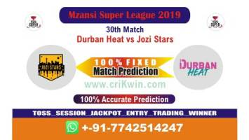 MSL 2019 Today Match Prediction JOZ vs DUR 30th 100% Sure Win