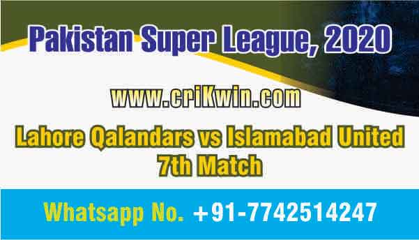 Today Match Prediction LAH vs ISL PSL 7th T20 100% Sure Win Tips