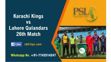 100% Sure Today Match Prediction LAH vs KAR 26th PSL T20 Win Tips