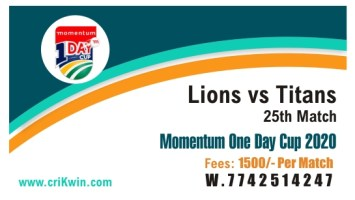 100% Sure Today Match Prediction TIT vs Lions 25th Domestic ODI Tips