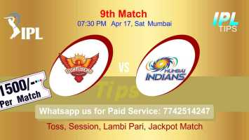 SRH vs MI IPL T20 9th Match 100% Sure Today Prediction Win Tips