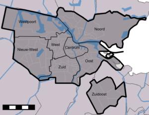 Amsterdamse stadsdelen sinds 1 mei 2010.