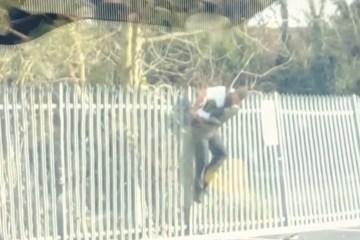 VIDEO: Politieagent komt op hilarische wijze hangend klem te zitten aan hek
