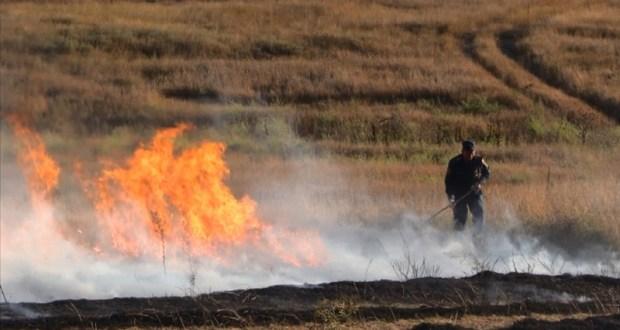 Крымские пожарные тушили загорание сухой травы в Симферопольском районе