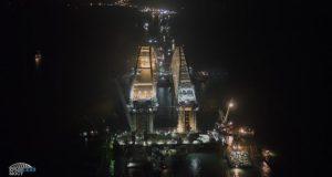 Опубликовано фото ночных работ на арках Керченского моста