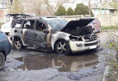 В Евпатории ночью сгорел «Мерседес»
