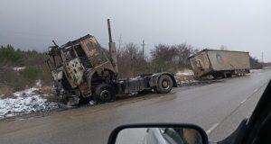 Подробности вечернего пожара под Старым Крымом. Сгорел тягач МАЗ