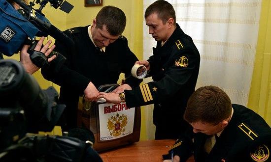 Экипажи кораблей Черноморского флота досрочно проголосовали на выборах президента