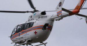 В центре Симферополя, на площади Ленина приземлился вертолет