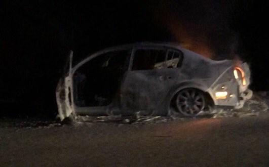 На Ялтинской трассе, недалеко от Ангарского перевала сгорела иномарка