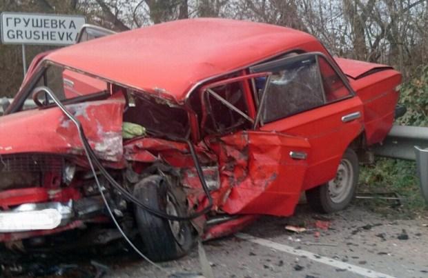ДТП на Керченское трассе. Лобовое столкновение на въезде в Грушевку
