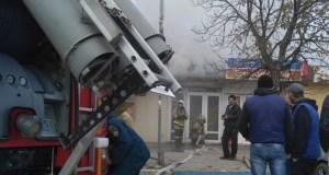 Пожар на Крымском рынке в Феодосии