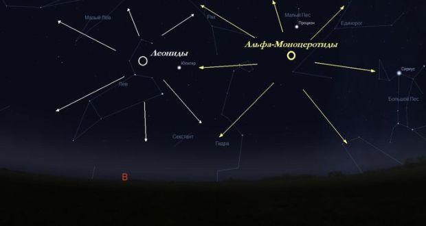 В ночь на пятницу в Крыму можно наблюдать метеорный поток Альфа-Моноцеротиды