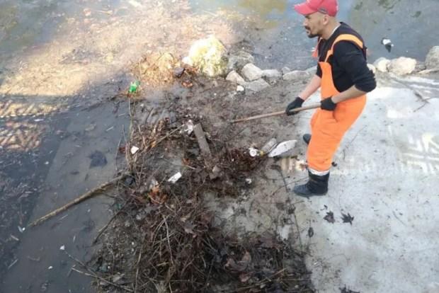 Симферопольские коммунальщики чистят русло реки Салгир