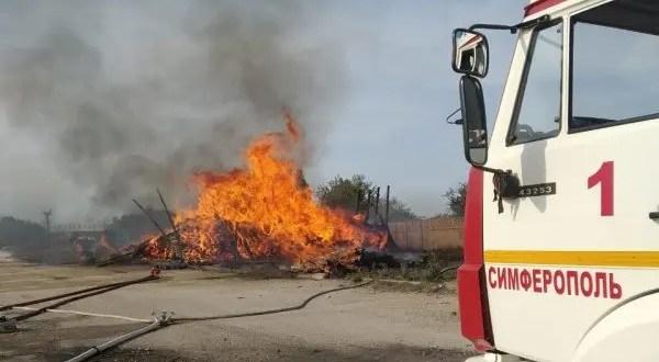 Пожар в Симферополе - горели железнодорожные шпалы