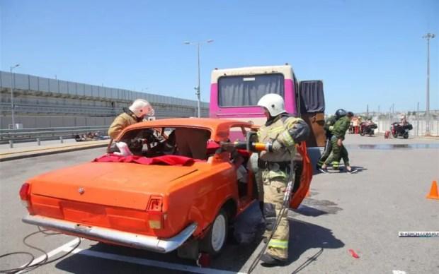 Учения по ликвидации крупного ДТП на Крымском мосту