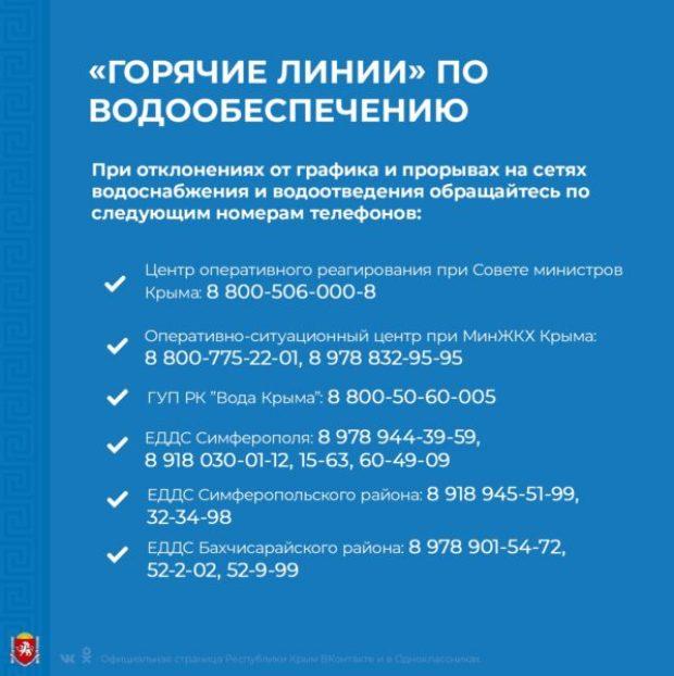 Аксёнов: телефоны «горячей линии» по вопросам водообеспечения должны быть общедоступны