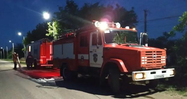 Ночной пожар в селе Первомайское Симферопольского района