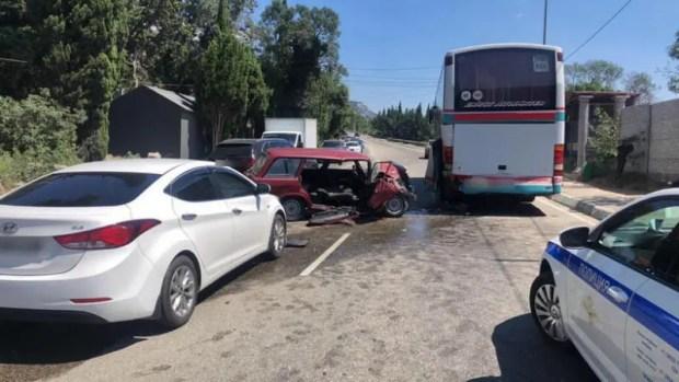 Смертельное ДТП в Алупке: ВАЗ столкнулся с автобусом