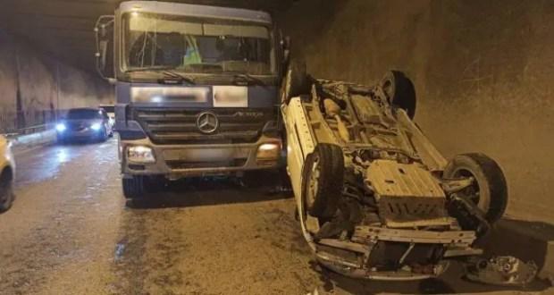 ДТП в тоннеле трассы «Симферополь – Евпатория» - перевернулась иномарка