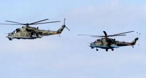 Экипажи вертолетов Ми-35 ЮВО уничтожили наземные объекты условного противника на учении в Крыму