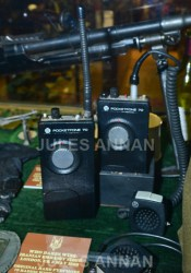 "Picture By:Jules Annan Picture Shows:Original Operation Nimrod Pye Pocketfone 70 microphone sets used by the SAS during the1980 Iranian Embassy Seige storming and now here on display at the SAS Who Dares Wins "" CRW "" ( ""Counter Revolutionary Warfare "" ) Exhibition at LittleDean Jail Date 13/04/2013 Ref: *World Rights Only* *Unbylined uses will incur an additional discretionary fee!*"