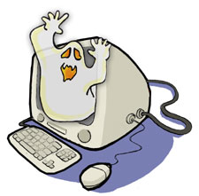 cartoon of a computer with a ghost in it