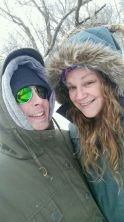 T-Dawg and myself on our hike. He said his legs were numb from the cold. I made him keep going.
