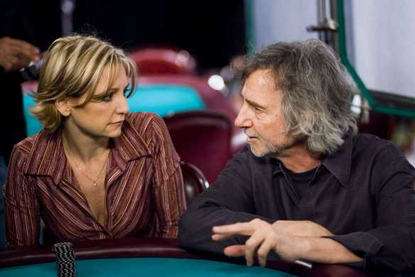 Curtis Hanson directs real life poker pro Jennifer Harmon in a scene at Binion's. Photo courtesy of Warner Brothers