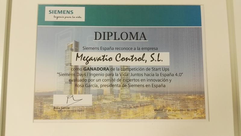 Diploma ganador de Megavatio Control