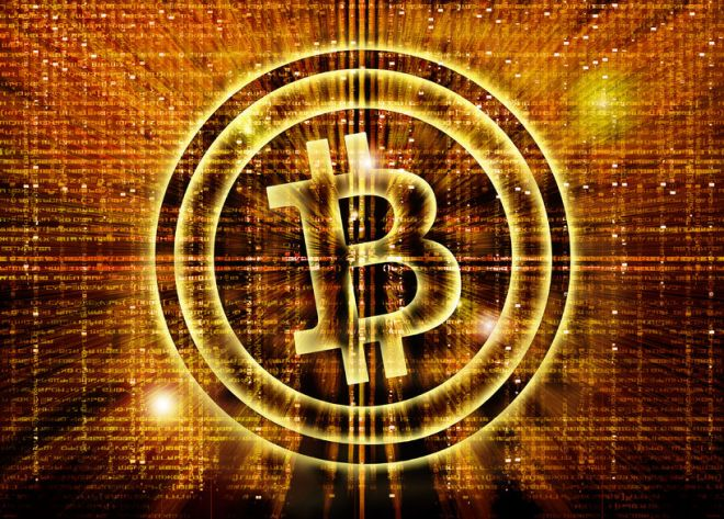 27545049 - golden bitcoin symbol digital abstract background
