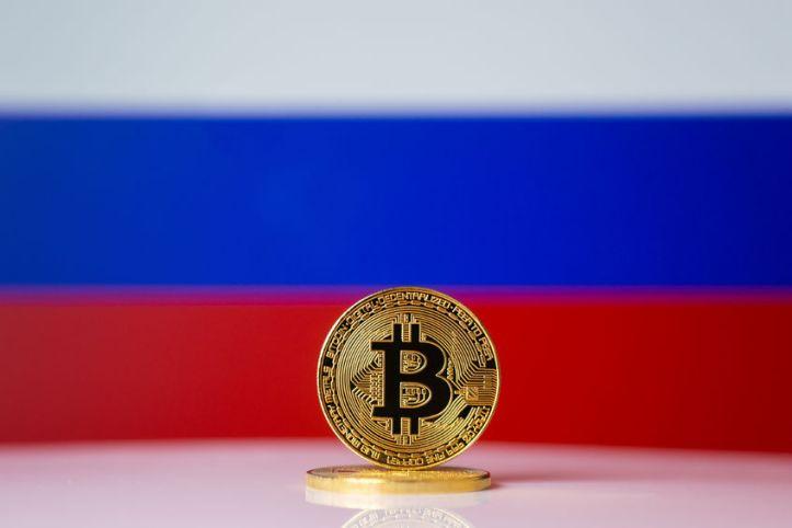 87155187 - bitcoin. bitcoin on russian federation flag background