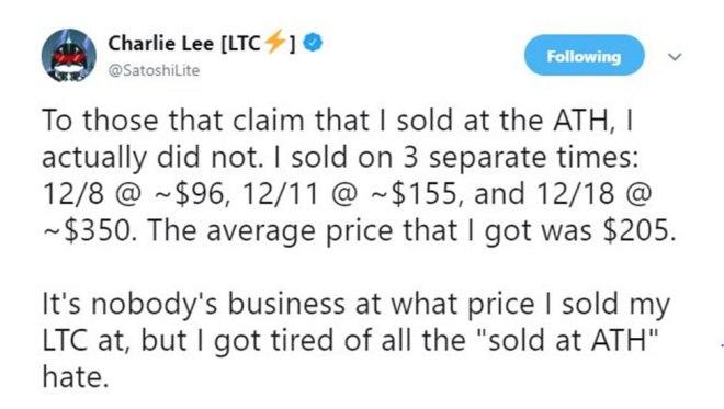 Charli Lee LTC Tweet 1