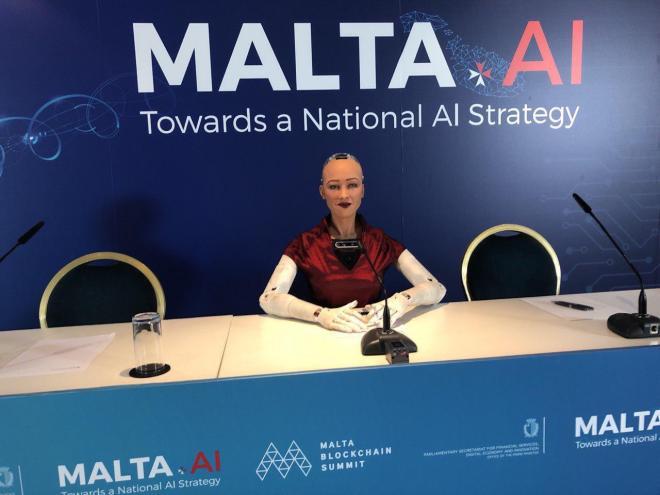 Sophia Inteligencia Artificial Malta Blockchain Summit