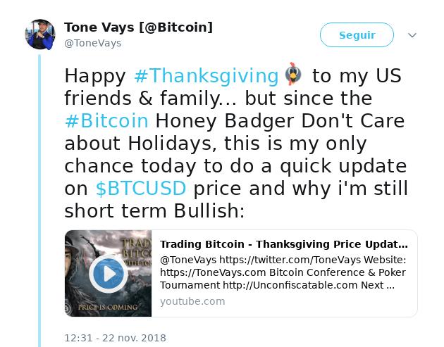 Tweet Tone Vays Bitcoin